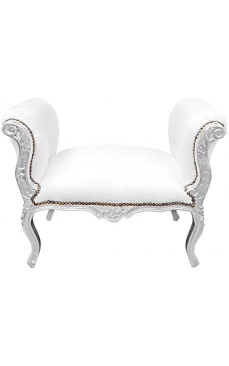 Baroque bench Louis XV style white leatherette and silver wood