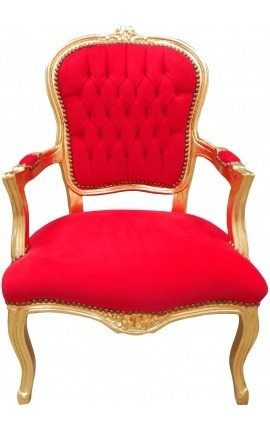 [Limited Edition] Baroque armchair of Louis XV style red velvet and gold wood
