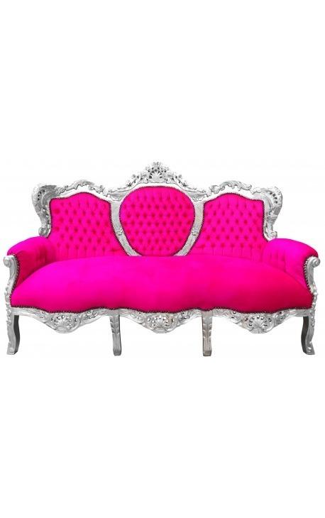 Canapé baroque tissu velours rose fuchsia et bois argenté
