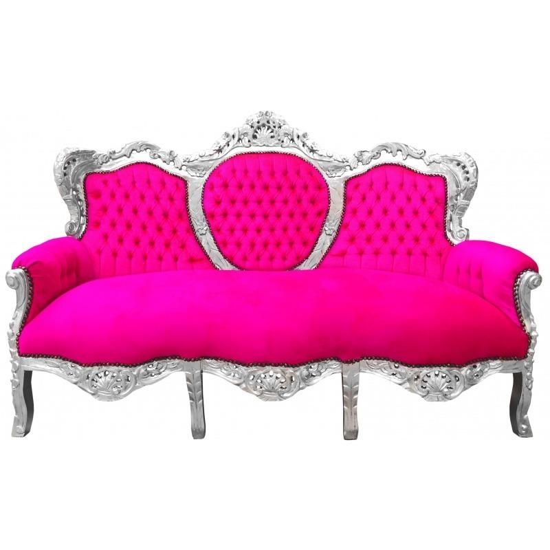 Canap baroque tissu velours rose fuchsia et bois argent - Canape velours baroque ...