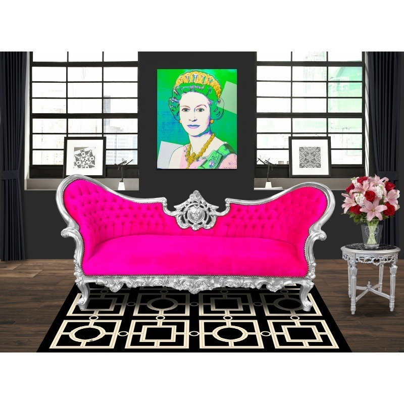 canap baroque napol on iii tissu velours fuchsia et bois argent. Black Bedroom Furniture Sets. Home Design Ideas