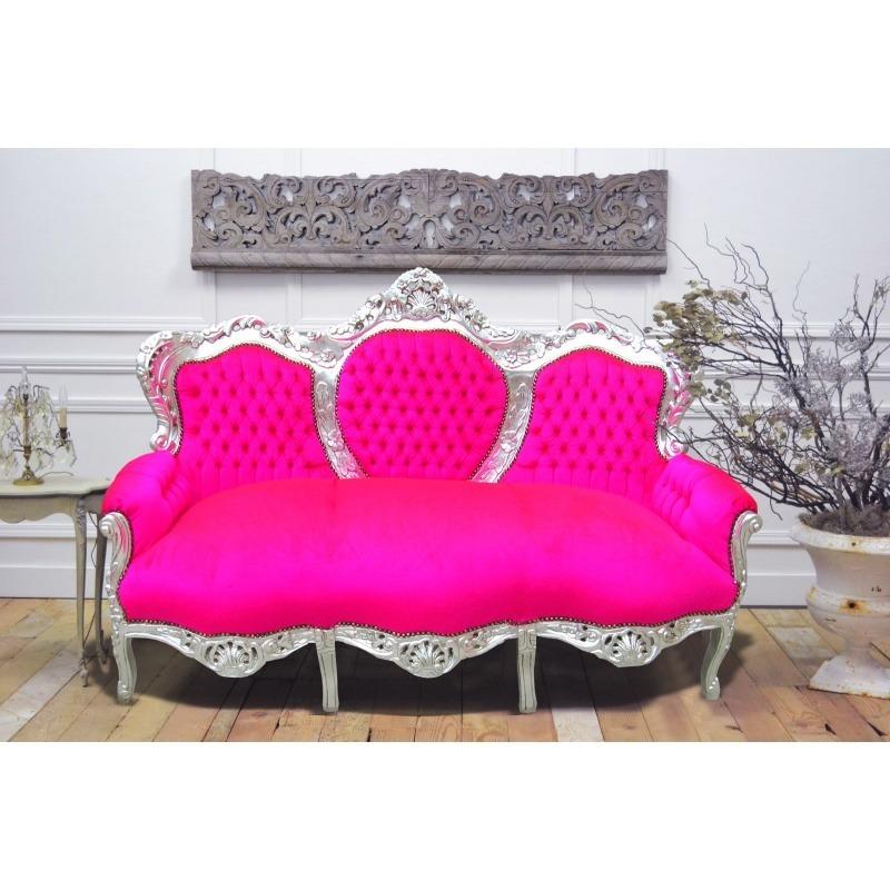 Canap baroque tissu velours rose fuchsia et bois argent for Canape bois et tissu