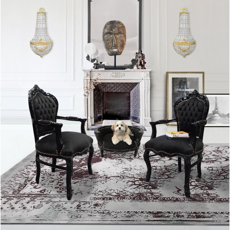 fauteuil de style baroque rococo velours noir et bois noir. Black Bedroom Furniture Sets. Home Design Ideas
