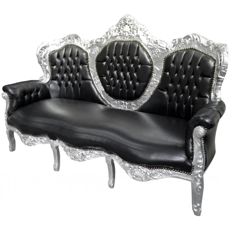 canap baroque tissu simili cuir noir et bois argent. Black Bedroom Furniture Sets. Home Design Ideas