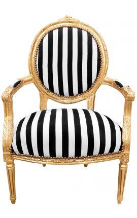Fauteuil Louis XVI de style baroque tissu rayé noir et blanc et bois doré