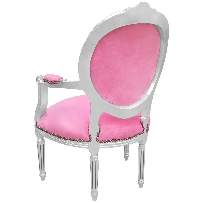 fauteuil baroque de style louis xvi velours rose et bois argent. Black Bedroom Furniture Sets. Home Design Ideas