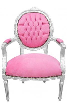 Fauteuil Louis XVI de style baroque velours rose et bois argenté