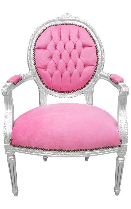Барокко кресло Louis XVI стиле розового бархата и посеребренный древесины