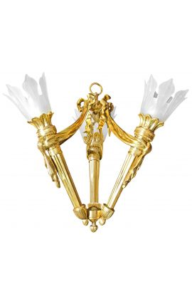 Chandelier 3 torches Empire style bronze