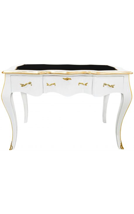 Baroque white writing desk Louis XV style, black writing pad