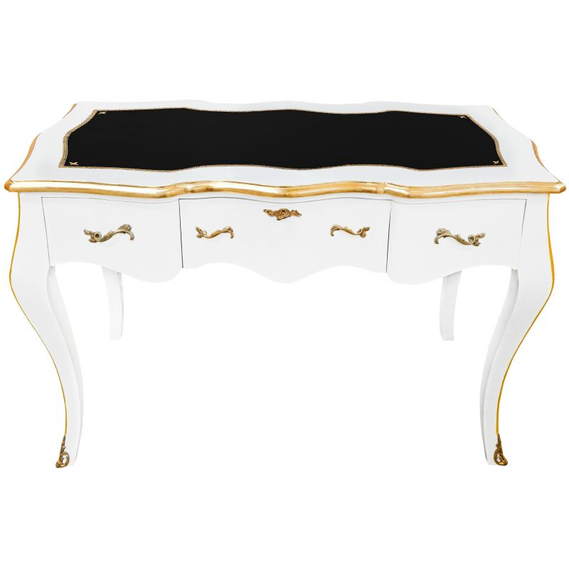 bureau baroque de style louis xv blanc sous main noir. Black Bedroom Furniture Sets. Home Design Ideas
