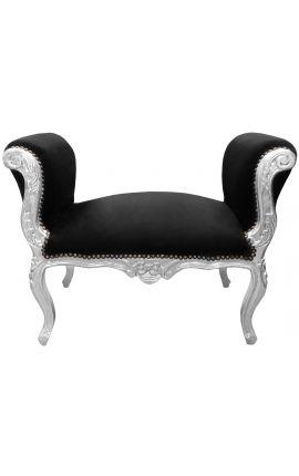 Banquette baroque de style Louis XV tissu velours noir et bois argent