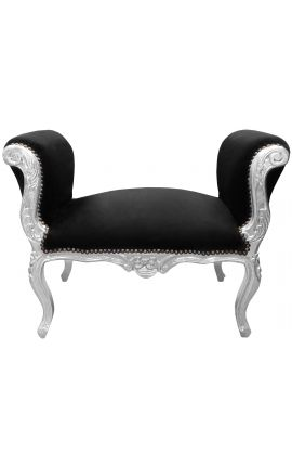 Baroque Louis XV bench black velvet fabric and silver wood
