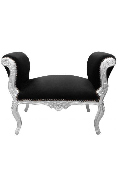 Скамейка стиль Louis XV ткань черный бархат и серебро дерево