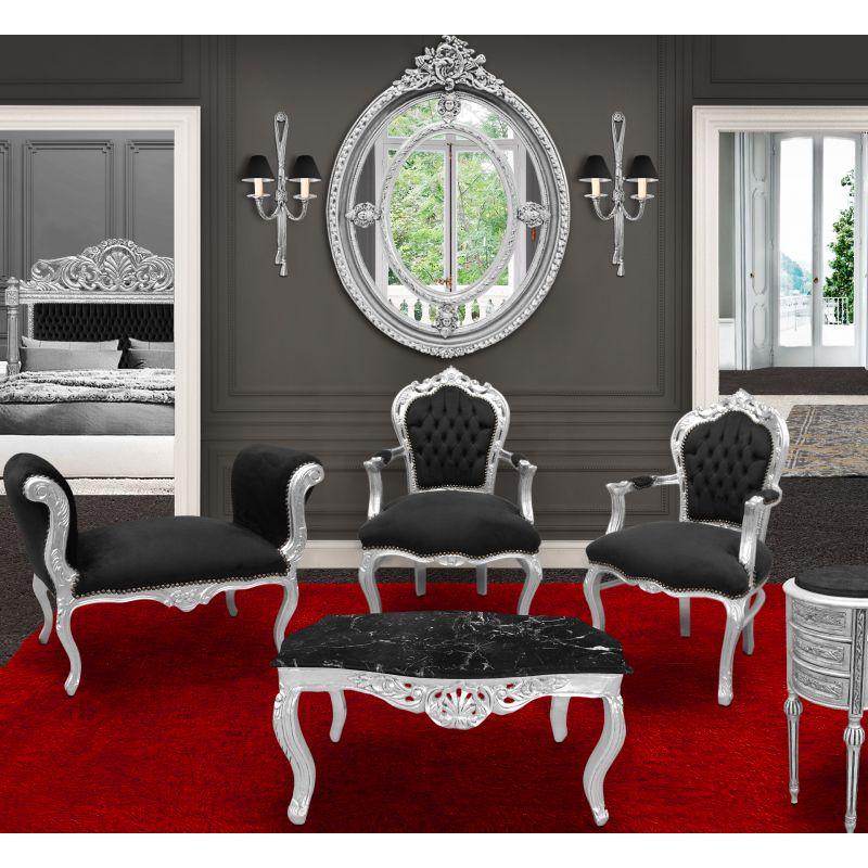 banquette baroque de style louis xv velours noir et bois argent. Black Bedroom Furniture Sets. Home Design Ideas