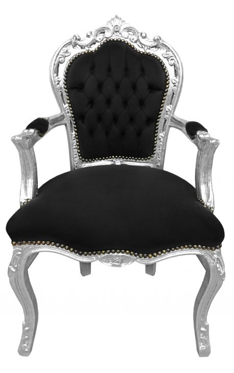 Baroque rococo armchair style black velvet and silver wood