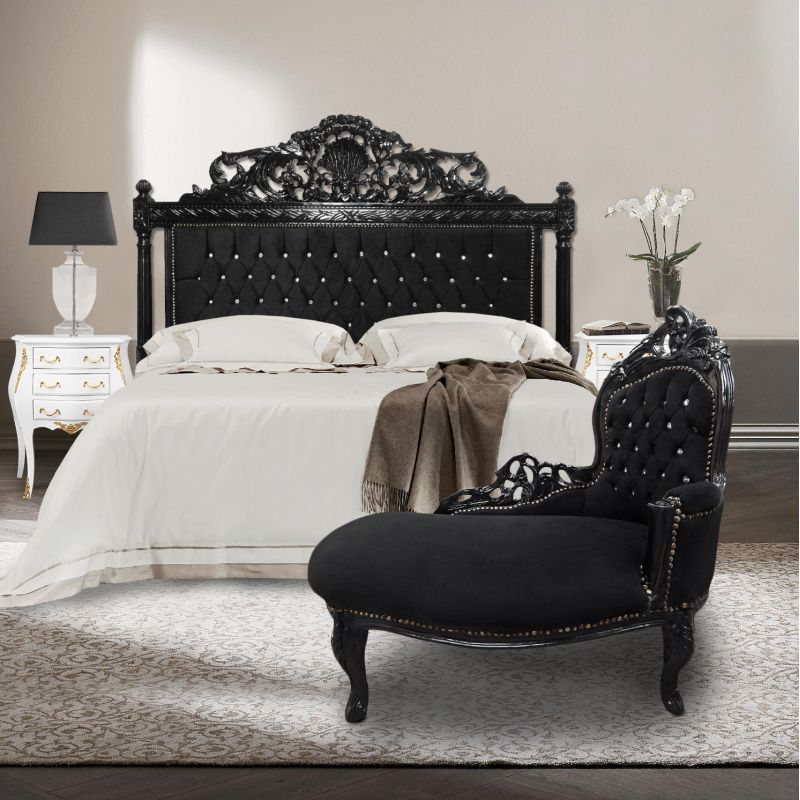 Baroque chaise longue black velvet with rhinestones and - Chaise baroque argentee ...
