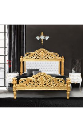 Baroque bed white leatherette with rhinestones and gold wood
