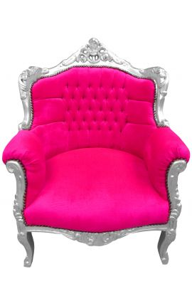 "Armchair ""princely"" Baroque style fushia pink velvet and silver wood"