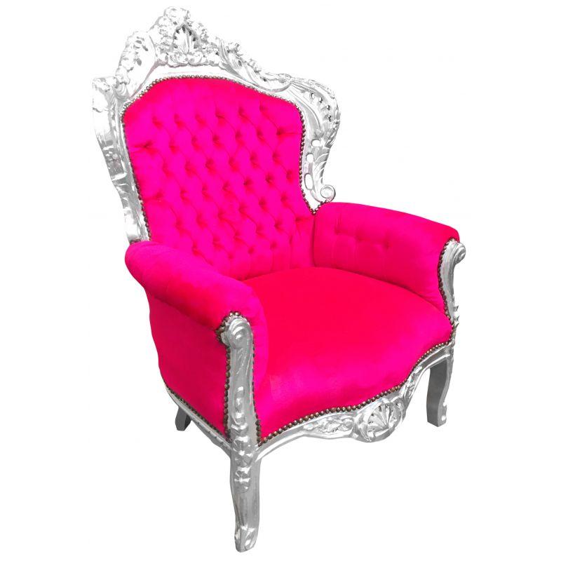 grand fauteuil de style baroque velours fuchsia et bois argent. Black Bedroom Furniture Sets. Home Design Ideas
