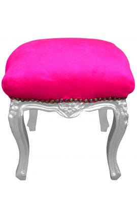 Baroque footrest Louis XV fuchsia fabric and silver wood