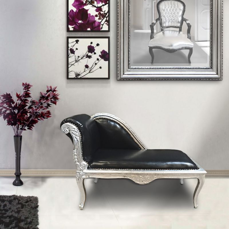 Louis xv chaise longue black leatherette and silver wood for Baroque chaise lounge sofa