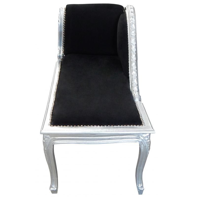 m ridienne de style louis xv tissu en velours noir et bois. Black Bedroom Furniture Sets. Home Design Ideas