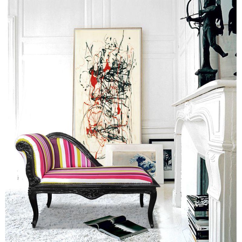 m ridienne de style louis xv tissu ray multicolore et. Black Bedroom Furniture Sets. Home Design Ideas