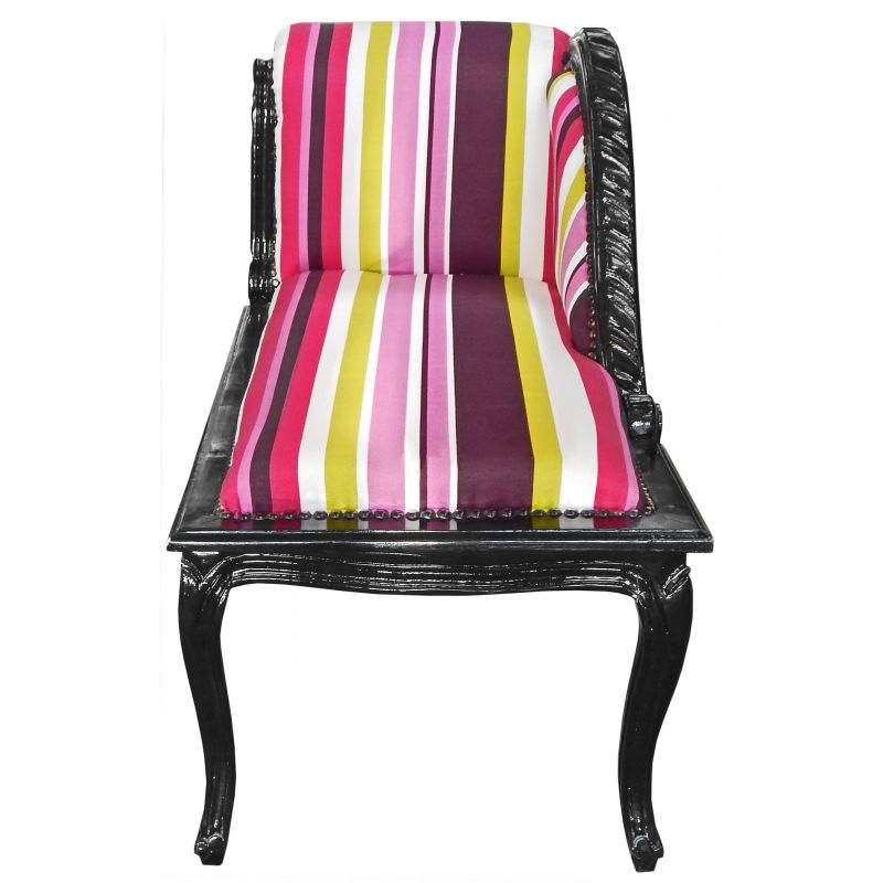 Louis xv chaise longue multicolor striped fabric and black for Chaise louis xv