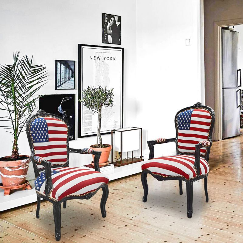 fauteuil baroque de style louis xv american flag et bois noir. Black Bedroom Furniture Sets. Home Design Ideas