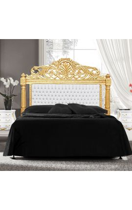 Baroque bed headboard white leatherette with rhinestones and gold wood