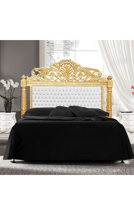 bed headboard white leatherette with rhinestones and gold wood