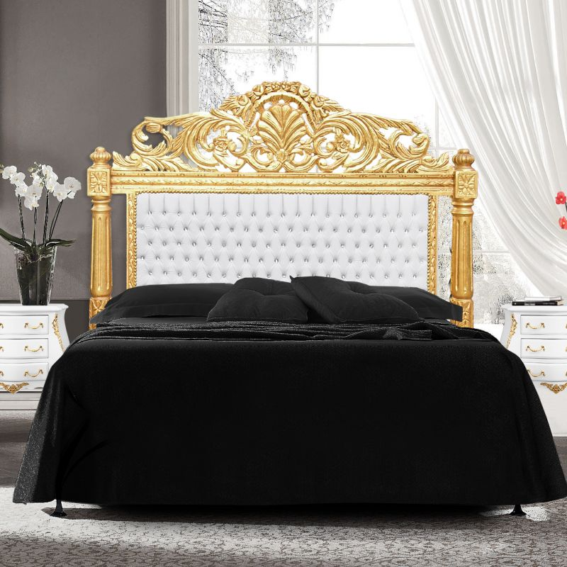 Baroque Bed Headboard White Leatherette With Rhinestones