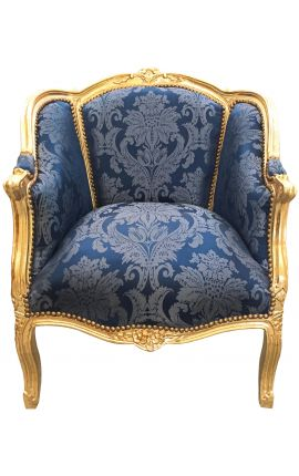 """Grande bergère de style Louis XV satiné bleu aux motifs """"Gobelins"""" et bois doré"""