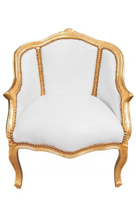 Bergere armchair Louis XV style white leatherette and gold wood