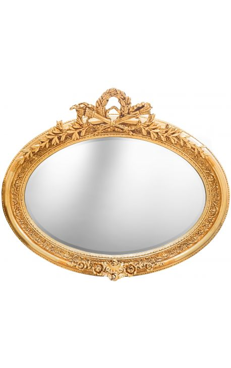 Tr s grand miroir baroque ovale dor horizontal for Miroir horizontal