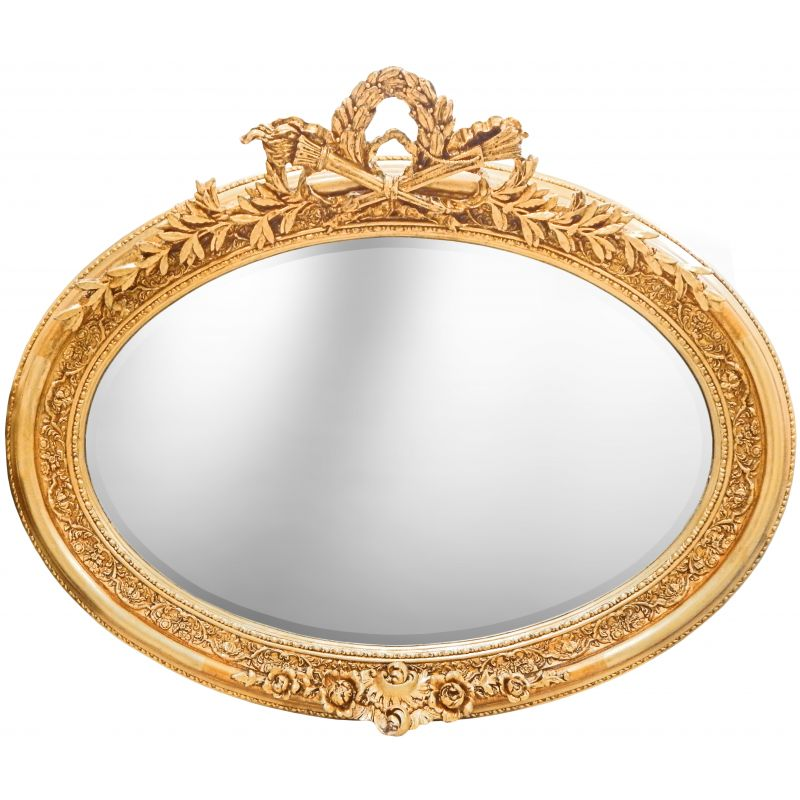 Very large golden horizontal oval baroque mirror for Baroque oval mirror