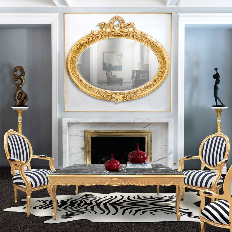 tr s grand miroir baroque ovale dor horizontal. Black Bedroom Furniture Sets. Home Design Ideas