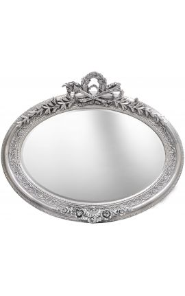 Tr s grand miroir baroque ovale argent horizontal for Grand miroir baroque