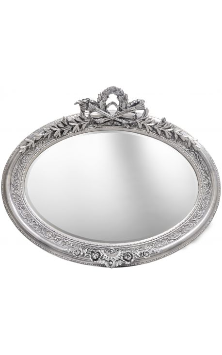 Very large silver horizontal oval baroque mirror