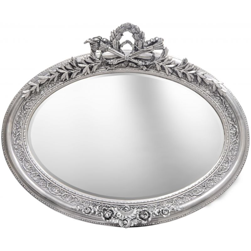 Very large silver horizontal oval baroque mirror for Baroque oval mirror