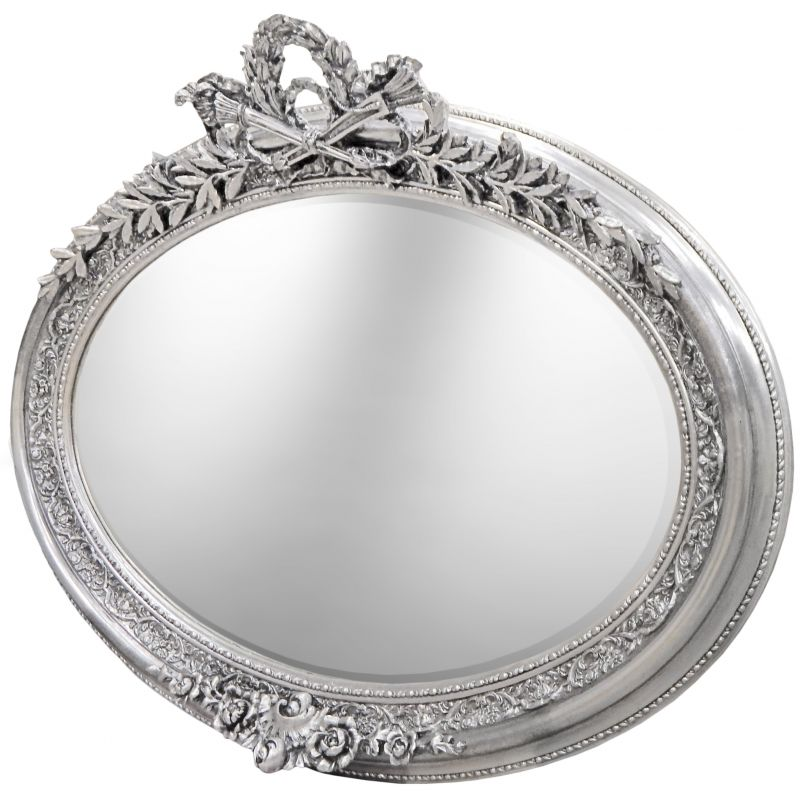 tr s grand miroir baroque ovale argent horizontal