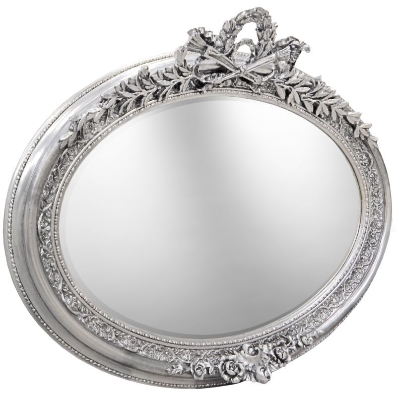 Tr s grand miroir baroque ovale argent horizontal for Miroir horizontal