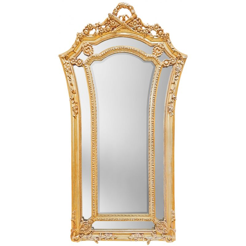Tr s grand miroir baroque dor de style louis xvi vas for Grand miroir baroque