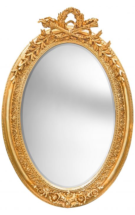 Tr s grand miroir baroque ovale dor vertical for Grand miroir large