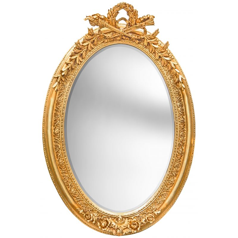 Tr s grand miroir baroque ovale dor vertical for Tres grand miroir