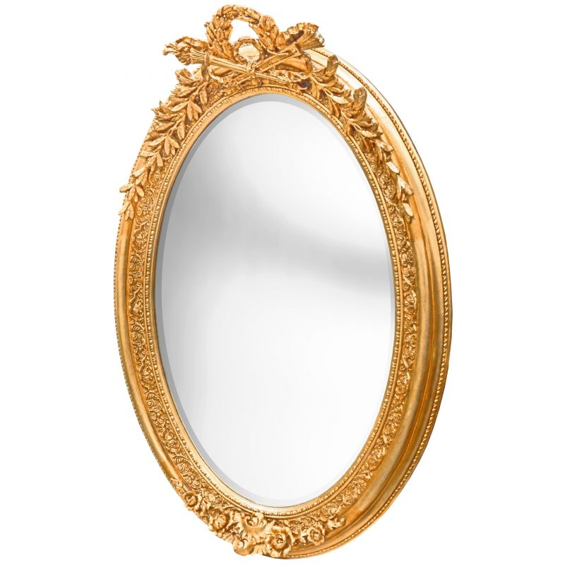Very large golden vertical oval baroque mirror for Baroque mirror
