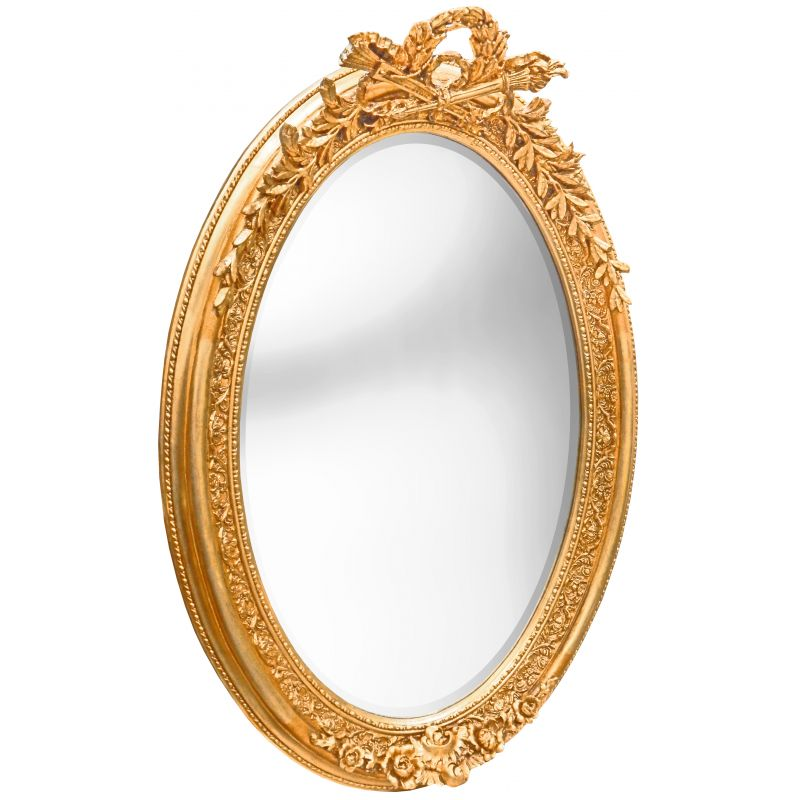 Tr s grand miroir baroque ovale dor vertical for Miroir argente baroque