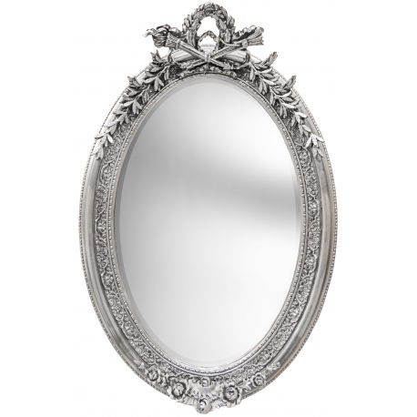 Tr s grand miroir baroque ovale argent vertical for Grand miroir large