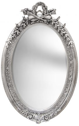 Très grand miroir baroque ovale argenté vertical